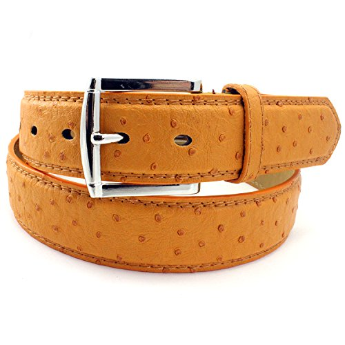 Ostrich Pattern Camel (Enimay Men's Bonded Leather Embossed Casual Dress Belt Ostrich A002 Camel)