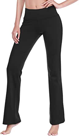 DAYOUNG Womens Bootcut Yoga Pants with Pockets,Long Bootleg Flare Tummy Control Workout Running Pants