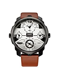 OULM Men Quartz Watch Four Time Zone Movement Big Round Dial PU Leather Watch Outdoor Sports Watch