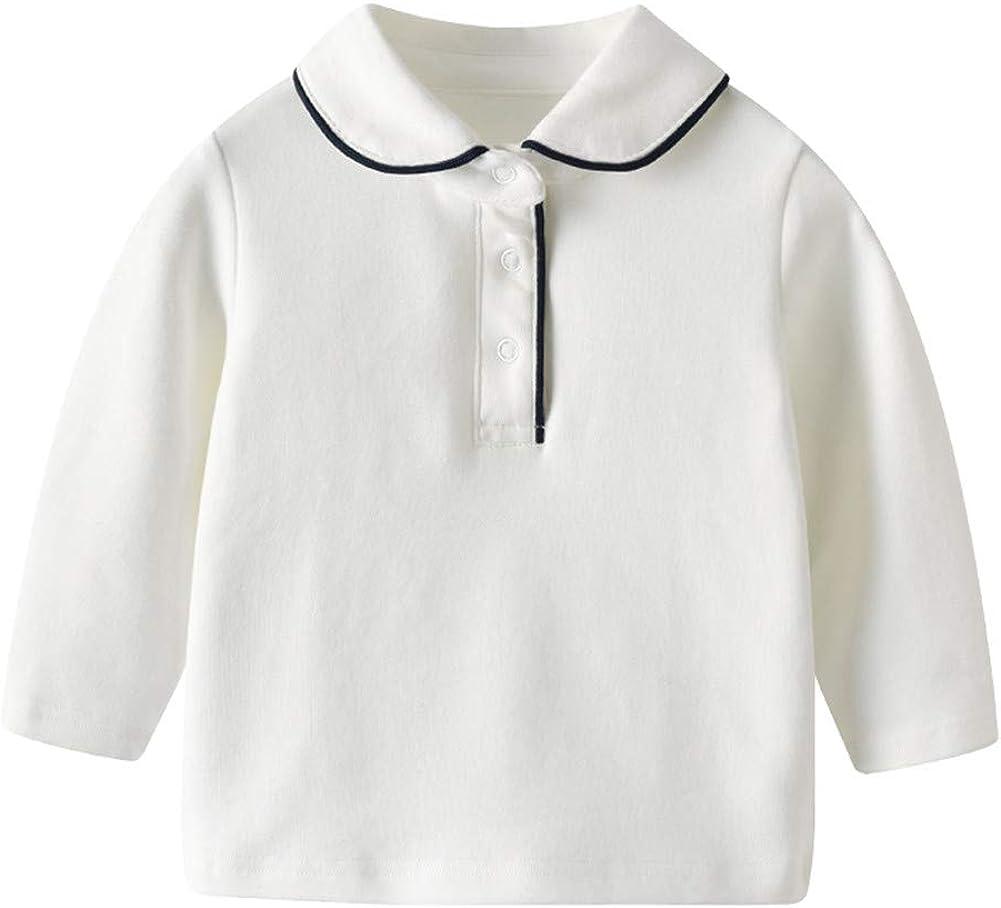 Auro Mesa Infant Baby Boys' Long Sleeve Cotton White Lapel Polo T-Shirts tees 1-4years