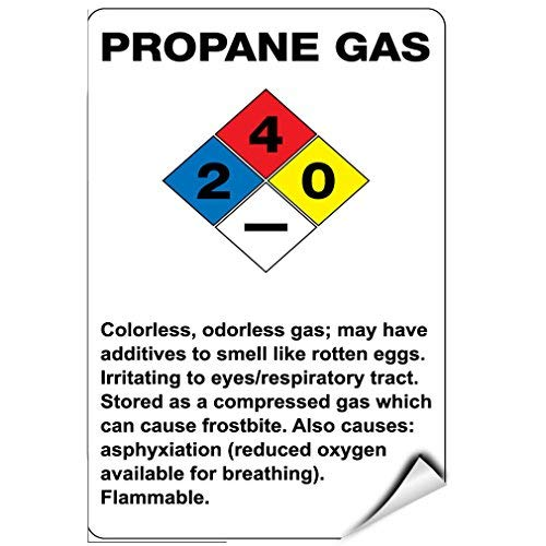 Propane Gas Smell Rotten Eggs Irritates Eyes Respiratory Label Decal Sticker Vinyl Label 7 X 10 Inches