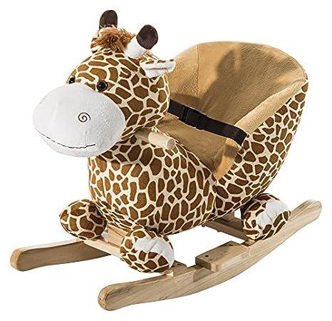 Homcom Schaukelpferd Kinder Schaukeltier Plüsch Schaukel Pferd Baby Schaukelspielzeug Geschenk für Kinder - Weihnachtsgeschenke (Schaukelbär mit Lied) 330-001