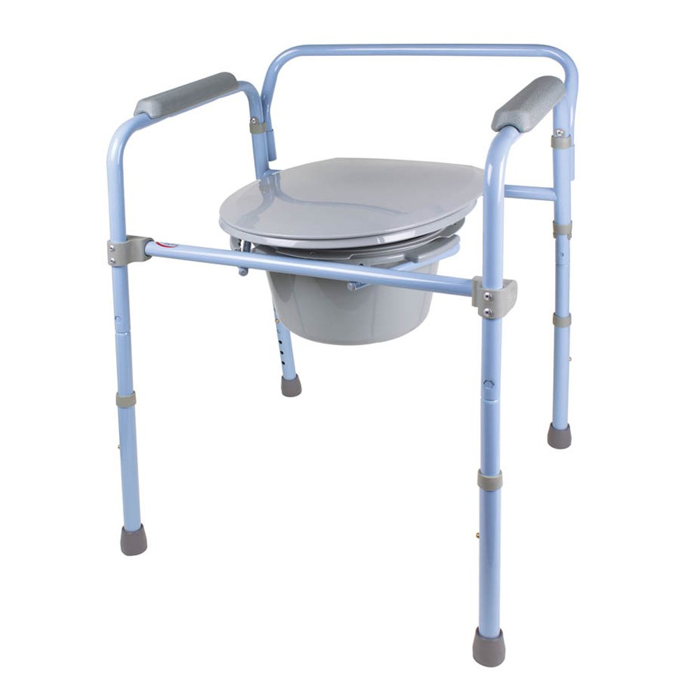 Carex Folding Commode, Portable Toilet For Adults and Bedside Commode Chair, Foldable