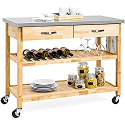 Best Choice Products 3-Tier Wood Rolling Kitchen Island Utility Serving Cart w/Stainless Steel Countertop - Natural