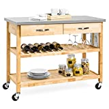 Best Choice Products 3-Tier Wood Rolling Kitchen Island Utility Serving Cart w/ Stainless Steel Countertop - Natural