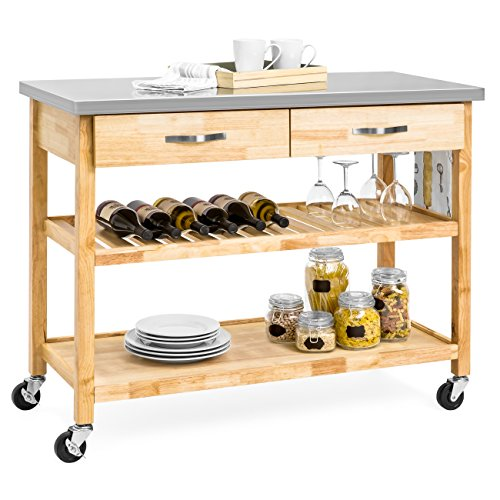 (Best Choice Products 3-Tier Wood Rolling Kitchen Island Utility Serving Cart w/ Stainless Steel Countertop - Natural)