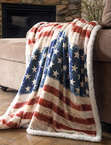 Carstens, Inc Carstens Wrangler Stars & Stripes USA American Flag Sherpa Fleece 54x68 Throw Blanket, White (Country Bedroom Blue)