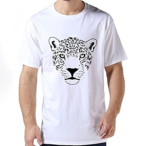 Jaguar Cougar Cat Puma Panther Leopard Cheetah White Male Crew-Neck Tee XXL (Cheetah Print Pumas)