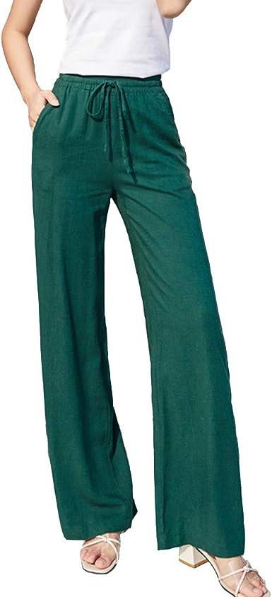Elastic Waist Wide Leg Long Straight Pants Women Linen Loose Casual Drawstring