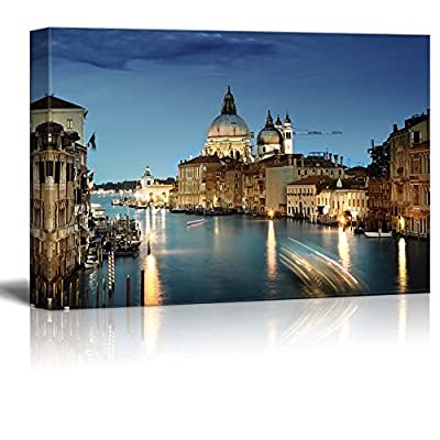 Beautiful Scenery Landscape Grand Canal and Basilica Santa Maria Della Salute Venice Italy - Canvas Art Wall Art - 12