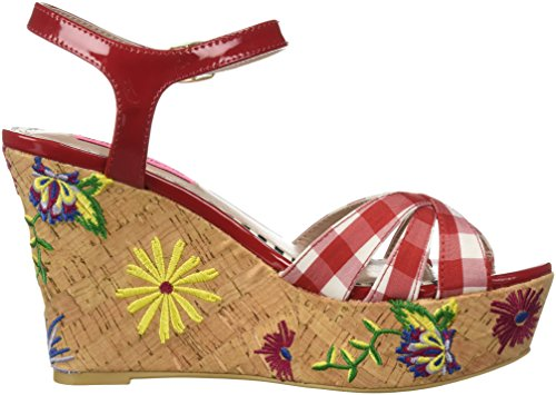 Betsey Johnson Womens Traci Sandalo Con Zeppa Rosso / Multi
