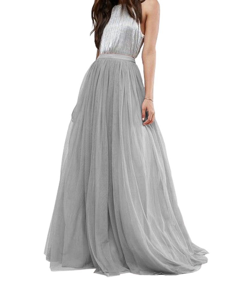 CoutureBridal Women's Bridal Prom Tulle Long Skirt Party Floor Length Gray