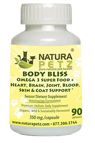 Natura Petz Organics Body Bliss OMEGA 3 Super Food + Heart/Brain/Joint/Blood/Skin & Coat Formula for Senior Pet