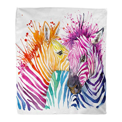 Golee Throw Blanket Colorful Animal Funny Zebra Graphics Rainbow Splash Watercolor Paint Wild 60x80 Inches Warm Fuzzy Soft Blanket for Bed Sofa