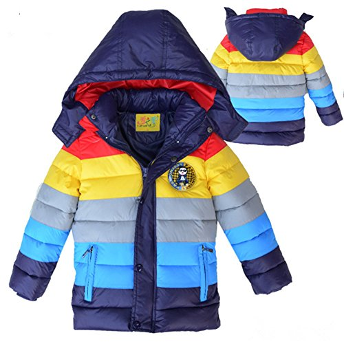 Boys Children Grey Lemonkids® Stripped Jacket Quilted Coat Anoraks Hooded Down Z54qw7