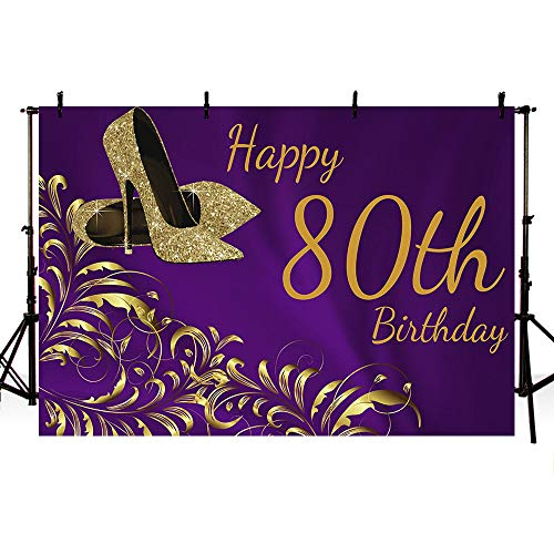 MEHOFOTO Purple and Gold Photo Studio Booth Backgrounds Props Shiny Golden High Heels Woman Happy 80th Birthday Party Decorations Banner Backdrops for Photography 8x6ft ()