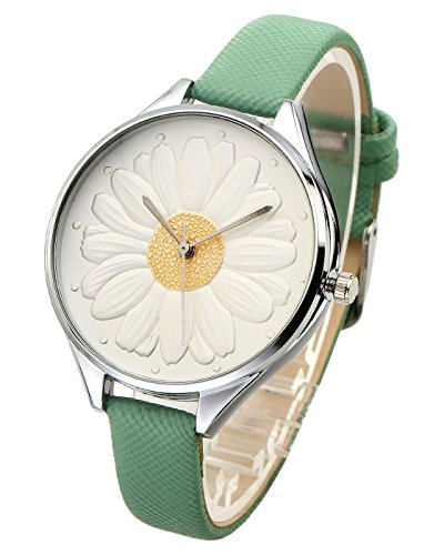 Top Plaza Women Casual Elegant Silver Round Case Thin PU Leather Band Daisy Carve Dial Analog Quartz Watch 30M Waterproof(Green)