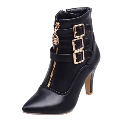 Women's Pointed Toe Buckled Strap Zipper Ankle Boots