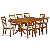 East West Furniture NAML9-SBR-C 9-Piece Dining Room Table Set For Sale