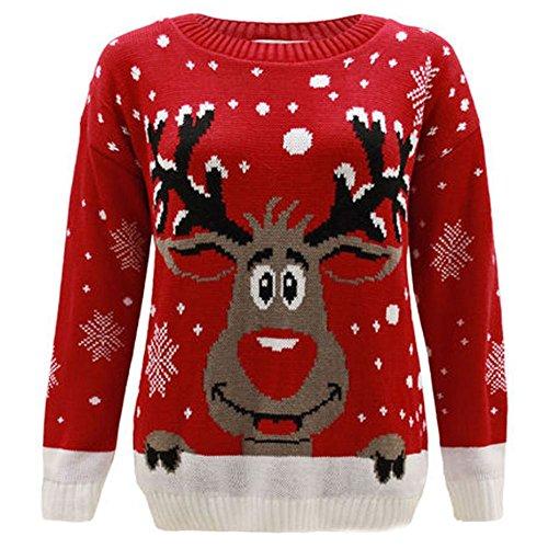 Janisramone - Jersey de manga larga con diseño de Navidad, unisex Red - Reindeer