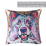 """EVERMARKET Mermaid Throw Pillow Cover,Magic Reversible Sequin Pillow Case, Cute Pet Pattern Throw Cushion Pillow Case Decorative Pillow That Change Color 16""""X16""""inch,Border Collie Dog 9"""