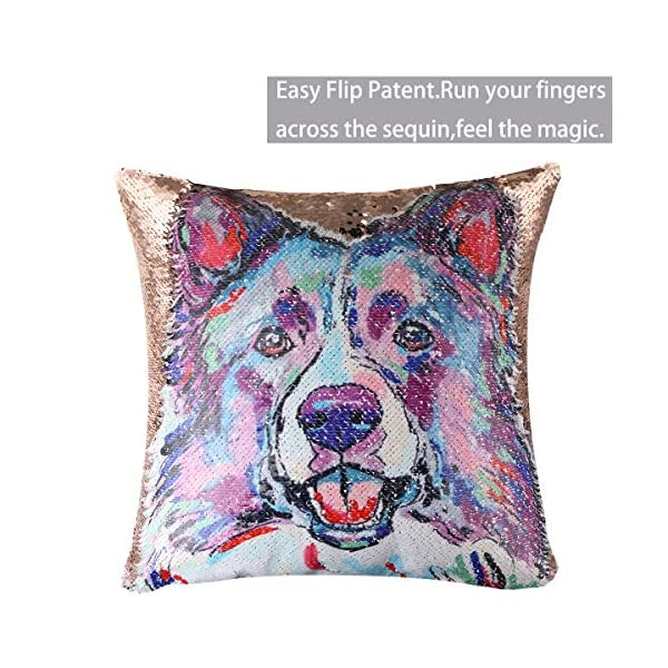 """EVERMARKET Mermaid Throw Pillow Cover,Magic Reversible Sequin Pillow Case, Cute Pet Pattern Throw Cushion Pillow Case Decorative Pillow That Change Color 16""""X16""""inch,Border Collie Dog 4"""