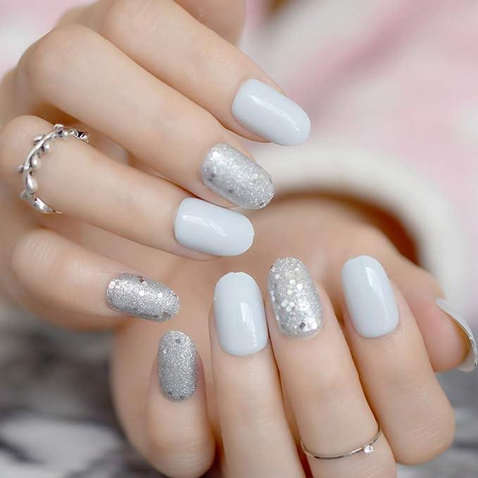 acrylic nails LC206 Glitzy hand pose PNG graphics glitter nail polish manicure hand nail art silver gold black press on nails