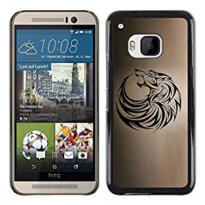 PC/Aluminum Funda Carcasa protectora para HTC One M9 wolf tribal tattoo ink black brown hound / JUSTGO PHONE PROTECTOR