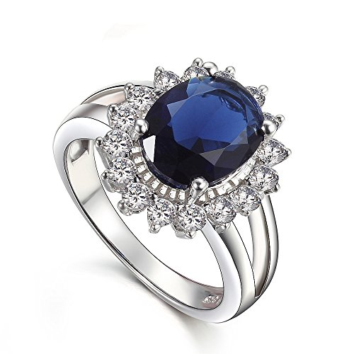 KIVN Fashion Jewelry Royal Blue Cubic Zirconia Bridal Princess Diana Engagement Rings for Women (Sapphire, ()