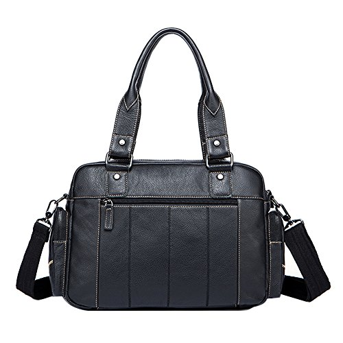 Genda 2Archer Moda piel Genuina bolsa de Hombro Bolsa de Mensajero Bolso del Campus (38cm*10cm*26cm) (Café) Negro