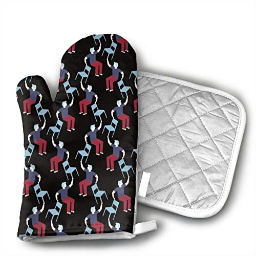 MEILVWEN Man and Chair Oven Mitt and Pot Holder Set,Heat Resistant for Cooking and Baking Kitchen Gift