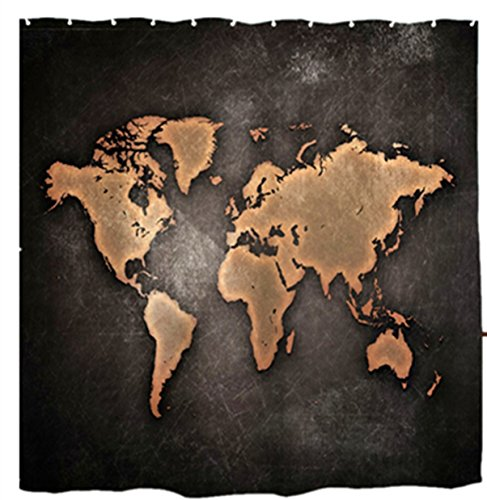Mimihome Unique World Map Custom Unique Waterproof Mildew Free Polyester Shower Curtain Set with Hooks, 72 x 72 Inch, Vintage