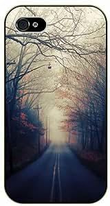 iPhone 4 / 4s Beautiful autumn road - black plastic case / Nature, Animals, Places Series