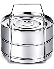 Instant Pot Accessories, Steamer Insert Pans for 6qt/ 8qt Pressure Cooker, BBing Stackable Stainless Steel Vegetable Steamer with Sling (One Pack)
