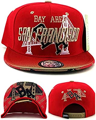 Amazon.com   San Francisco New Leader The Bay Area SF Bridge Skyline 49ers  Colors Red Gold Black Era Snapback Hat Cap   Sports   Outdoors 2d61bdf2dba