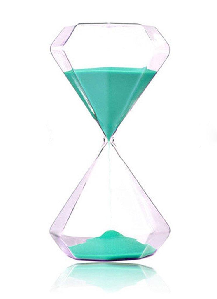 FLY SPRAY Hourglass Blue Diamond Shape Sandglass Sand Clock Timer 5mins for Kids School Kitchen Games Office Home Decor (15 minutes, Light Green)