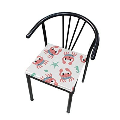 "Bardic HNTGHX Outdoor/Indoor Chair Cushion Cute Crab Seahorse Square Memory Foam Seat Pads Cushion for Patio Dining, 16"" x 16"": Home & Kitchen"