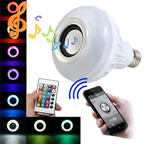 Wireless 12W Power E27 LED rgb Bluetooth Speaker Bulb Light Lamp - 8