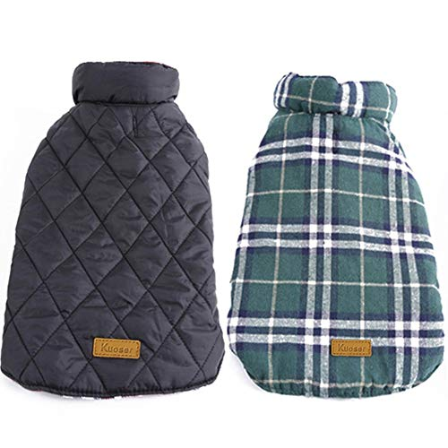 Kuoser Cozy Waterproof Windproof Reversible British Style Plaid Dog Vest Winter Coat Warm Dog Apparel Cold Weather Dog Jacket Small Medium Large Dogs Furry Collar (XS – 3XL),Green M