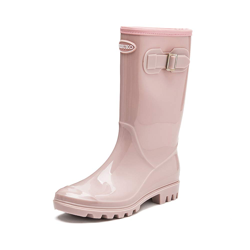 Pink DKSUKO Women's Rain Boots Waterproof Knee High Wellington Boots