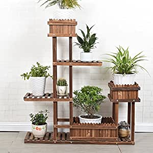 Solid wood plant flowerpot frame multilayer flower racks balcony living room assemble bonsai frame potted frame flower-A