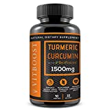 VitBoost Turmeric Curcumin with BioPerine 1500 mg. All Natural, Non-GMO, Gluten Free & Vegan with The Highest Potency for Extra Strength for Pain Relief, Joint Support, Inflammation.