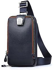 Lanica Mens Genuine Leather Crossbody Chest Sling Backpack Body Shoulder Bag Pack