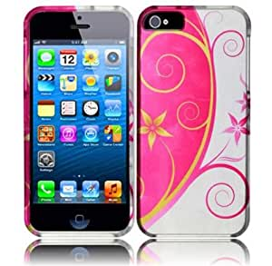Silver Pink Flower Swirl Hard Cover Case for Apple iPhone 5