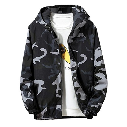 Blue Autumn Coat Multicamo Zip Hoode Men's Mogogo Jacket Juniors Oversized 6wHSqz4q