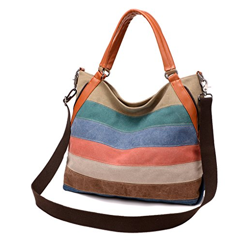 Lady's Canvas Handbag Casual Retro Hobo Shoulder Cross Body Handbag Colorful Stripes