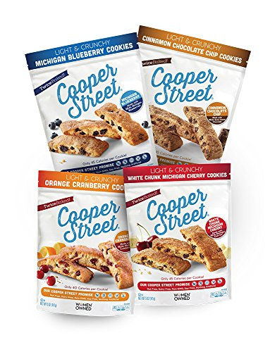 (Cooper Street Cookies, Variety Pack, Pack of 4 (5oz Bags), Twice-Baked Cookies, Dairy-Free, Nut-Free, Soy-Free, Low Calorie Gourmet, Old-Fashioned Biscotti Cookies)