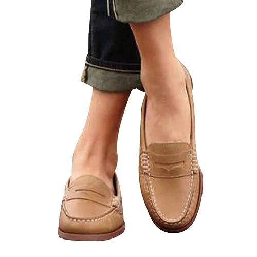 Juleya Mocasines de Cuero para Mujer Resbalón Plano para Mujer en Mocasines de Leopardo Mocasines cómodos para Trabajar: Amazon.es: Zapatos y complementos