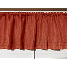 "lovemyfabric Solid Vintage Faux Linen Pleated Valance Window Treatment/Decor 56""X14"" Inch (Rust)"