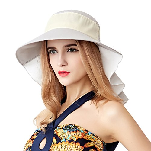 Home Prefer Womens Sun Hat UPF 50+ Wide Brim Neck Flap Hat Cotton Beach Sun Hat Gray